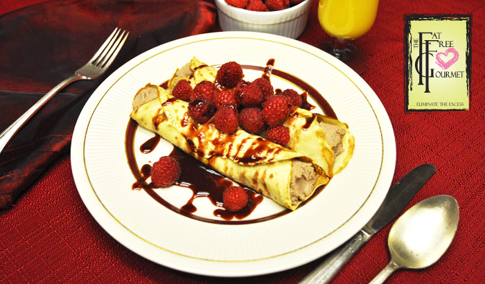 Crepes Vanessa:  Fat Free  Chocolate and Rasberry Breakfast Crepes